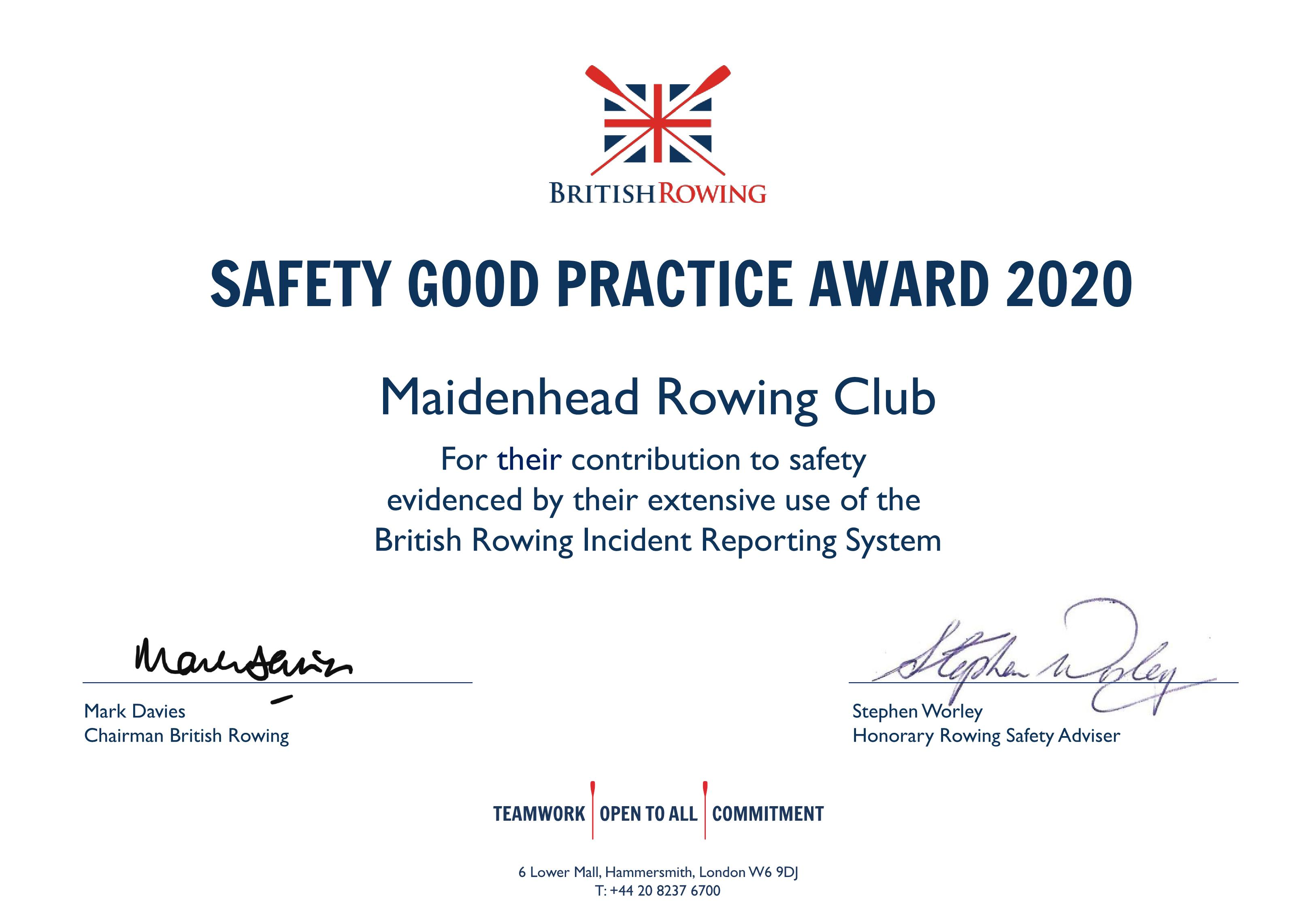Safety Certificate Maidenhead 2020 1